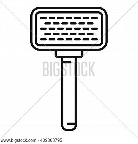 Groomer Pet Brush Icon. Outline Groomer Pet Brush Vector Icon For Web Design Isolated On White Backg