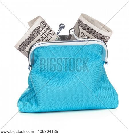 Blue cash wallet isolated over white background. Charge purse with hundred dollar banknote. Coin wallet.