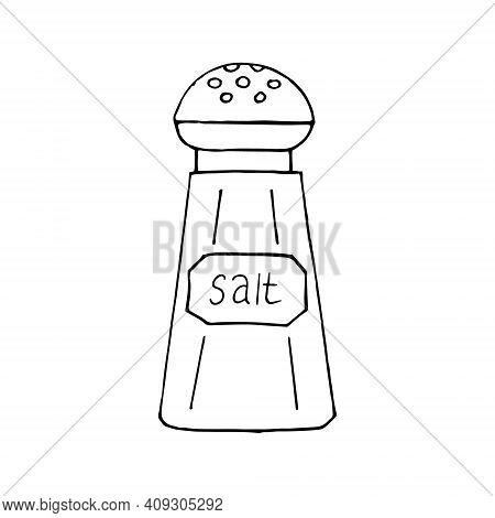 Salt Shaker Icon, Sticker. Sketch Hand Drawn Doodle Style. Vector, Minimalism, Monochrome. Kitchen S