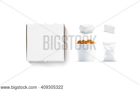 Blank White Cardboard Fast Food Packs Set Mockup, 3d Rendering. Empty Disposable Package For Pizza,