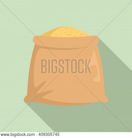 Wheat Sack Icon. Flat Illustration Of Wheat Sack Vector Icon For Web Design
