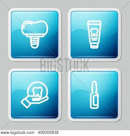 Set Line Dental Implant, Tube Of Toothpaste, Tooth And Painkiller Tablet Icon. Vector