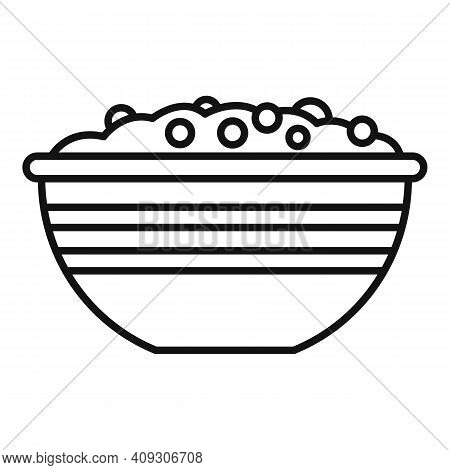 Cereal Flakes Bowl Icon. Outline Cereal Flakes Bowl Vector Icon For Web Design Isolated On White Bac