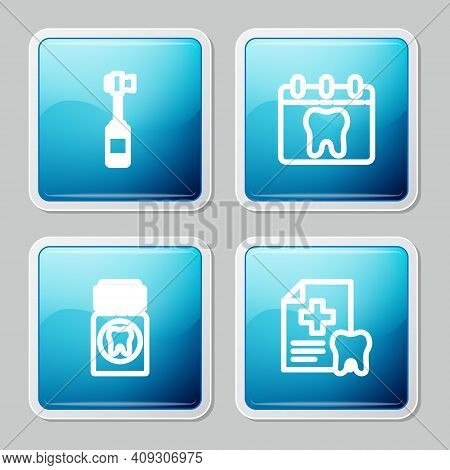 Set Line Toothbrush, Calendar With Tooth, Painkiller Tablet And Dental Card Icon. Vector