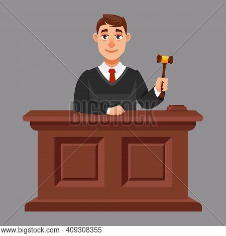Judges In Cartoon Style. Illustration Of Judicial Process.