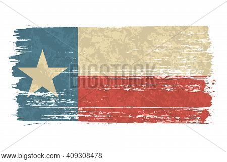 Texan Flag With A Vintage And Old Look. Lone Star State Flag. Texas Grunge Flag With A Texture. Symb