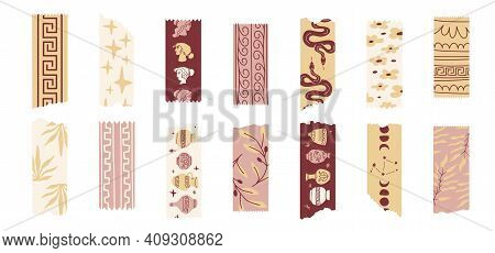 Greece Washi Tapes With Various Greek-culture Elements Such As Female Head Profiles, Ornaments, Pots