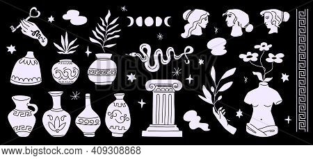Greece White Silhouettes Isolated On Black Background. Greek Vector Clipart In Modern Shapes: Vases