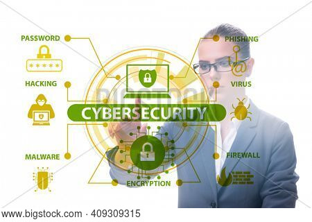 Cybersecurity concept with businesswoman pressing button