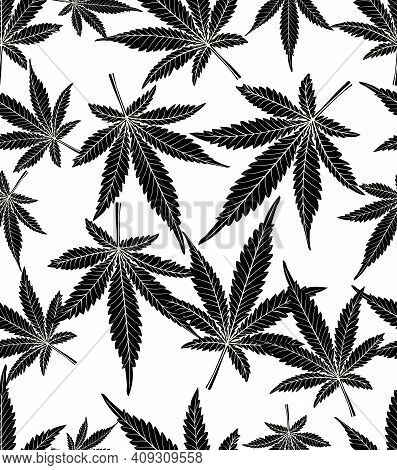 Monochrome Black And White Cannabis Leaves, Seamless Nature Inspired Pattens, Marihuana Leaf Silhoue