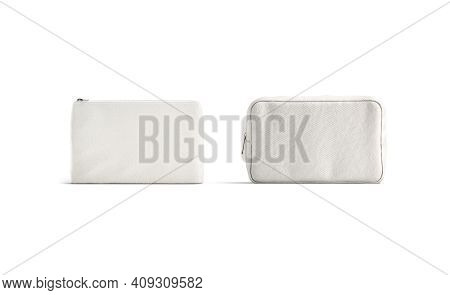 Blank Canvas Pouch And Cosmetic Bag Mockup, Front View, 3d Rendering. Empty Fabric Or Linen Purse Fo