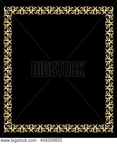 Fine Brass Square Frame In Art Deco Style With 3d Effect. Antique Gold Frame, Circular Frame On A Bl