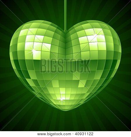 Vector Disco Heart. Green mirror disco ball in the shape of heart