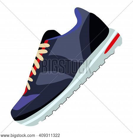 Shoes Flat Icon With Bright Colorful Sneakers. Isolated On White Background. Fashionable Sneakers Si