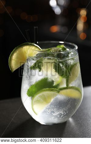 Glass Of Fresh Alcoholic Cocktail On Bar Counter, Closeup