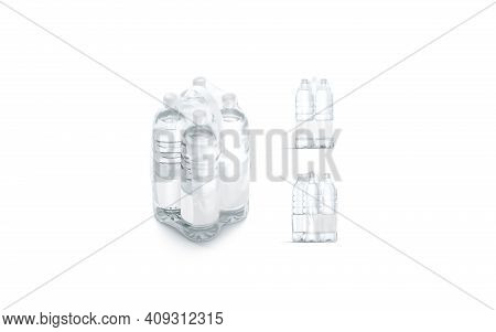 Blank Plastic Bottle In Transparent Shrink Wrap Mockup, Different Views, 3d Rendering. Empty Disposa