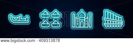 Set Line Indian Shoes, Taj Mahal And Pan Flute. Glowing Neon Icon. Vector