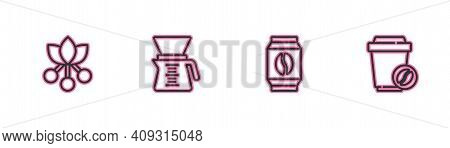 Set Line Coffee Bean, Branch, Bag Coffee Beans, Pour Over Maker And Cup To Go Icon. Vector