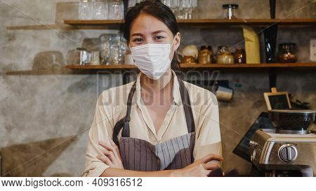 Portrait Young Asia Girl Waitress Wear Medical Face Mask Feeling Happy Smile Waiting For Clients Aft