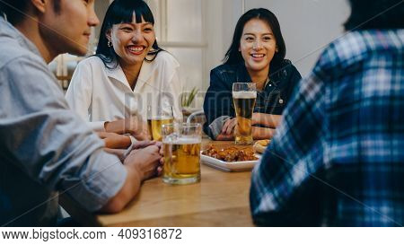 Group Of Happy Tourist Young Asian Friend Drinking Alcohol Beer And Having Fun Laugh Enjoy Hangout P
