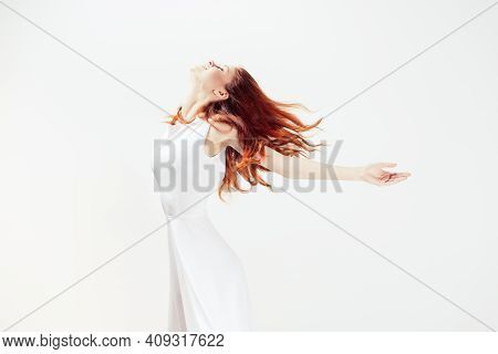 Attractive Woman In White Dress Red Hair Glamor Motion Model
