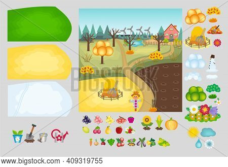 Vector Kids Cartoon Constructor Gardening And Agriculture In Different Seasons. Farm Background With