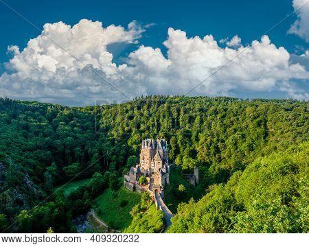Burg Eltz castle in Rhineland-Palatinate state, Germany. Construction start prior to 1157.