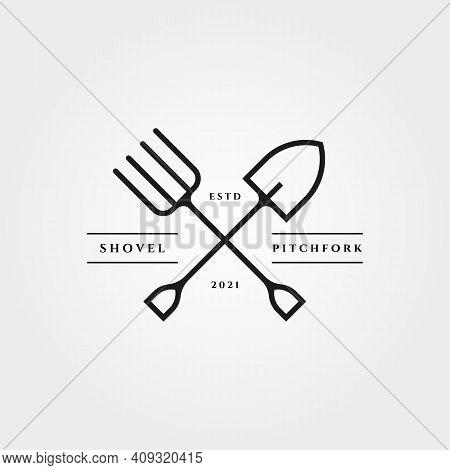 Pitchfork And Shovel Icon Logo Vector Minimalist Illustration Design