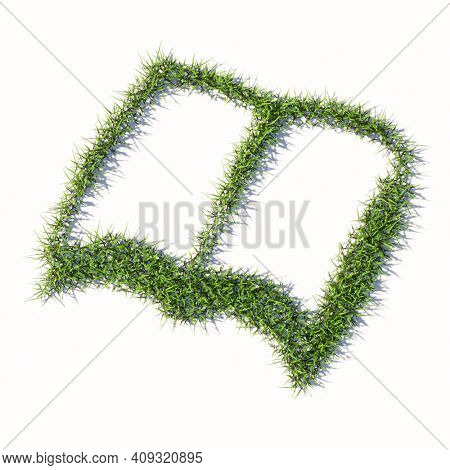 Concept or conceptual green summer lawn grass symbol shape isolated white background, sign of open book. A 3d illustration metaphor for learning, education, research,  science, literature and culture