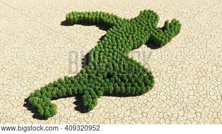 Concept or conceptual group of green forest tree on dry ground background, sign of a runner. A 3d illustration metaphor for athlete, sprinter, marathon, competition, exercise and  health