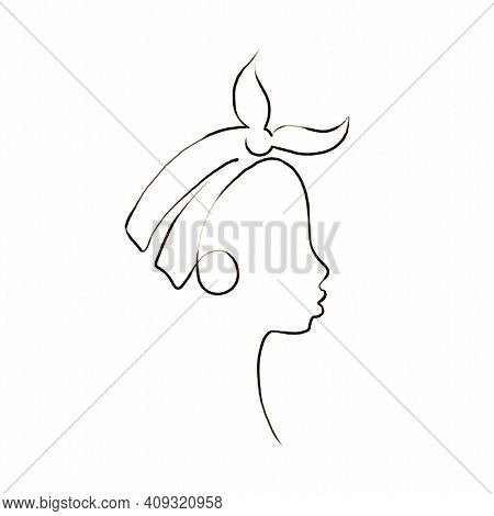 African girl in profile in headband and big earrings ring, Continuous one line pencil drawing, Abstract female fashion illustration single line, Afro teenage face minimalist contemporary art