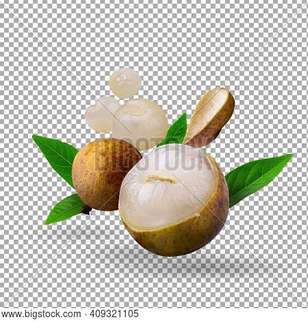 Fresh Longan Isolated Over An Alpha Background. With Clipping Path.