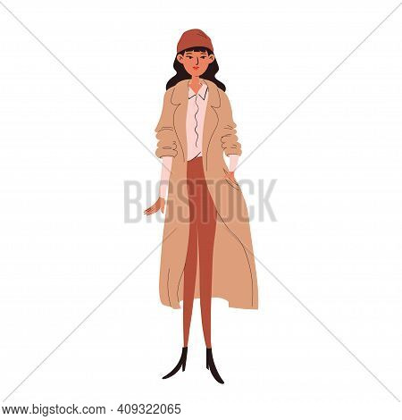 A Hand-drawn Young Woman In A Beige Coat And Brown Hat. Cute Smile Brunette In Modern Street Style L