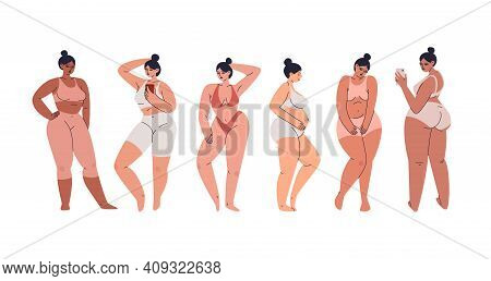 Attractive Young Women With A Voluminous Shaped Body. A Group Of Plus Size Women In Lingerie And Tra