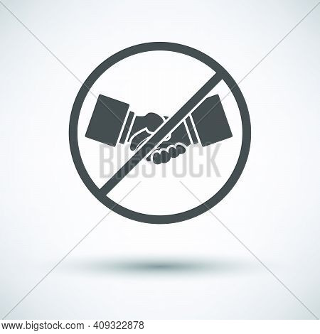 No Hand Shake Icon. Dark Gray On Gray Background With Round Shadow. Vector Illustration.