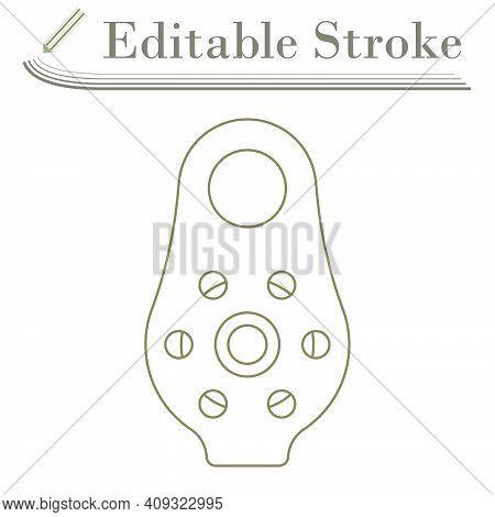 Alpinist Pulley Icon. Editable Stroke Simple Design. Vector Illustration.