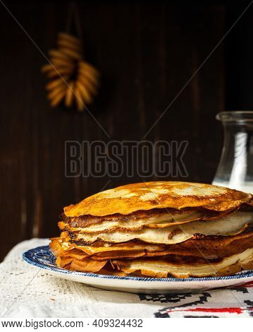 Pancake Day. Baking Pancakes, A Stack Of Pancakes On A Vintage Plate, On An Embroidered Linen Napkin