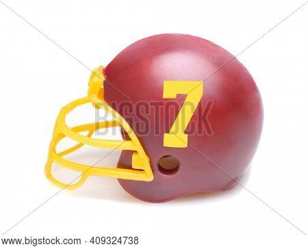 IRVINE, CALIFORNIA - 23 AUG 2020: Mini Collectable Football Helmet for the Washington Football Team of the National Football Conference East.