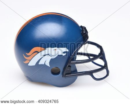 IRVINE, CALIFORNIA - AUGUST 30, 2018: Mini Collectable Football Helmet for the Denver Broncos of the American Football Conference West.