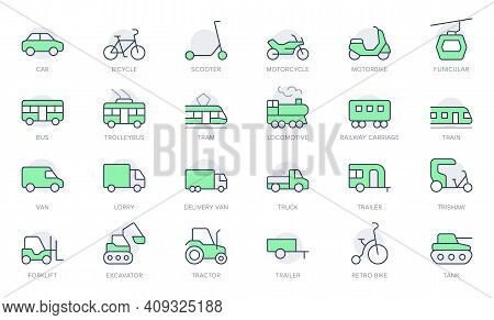 Transport Side View Simple Line Icons. Vector Illustration With Minimal Icon - Bike, Tram, Train, El