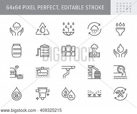Rainwater Harvesting Line Icons. Vector Illustration Include Icon - Barrel, Stainless Steel Reservoi