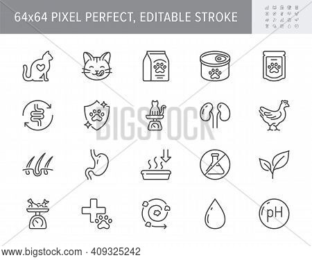 Cat Food Line Icons. Vector Illustration Include Icon Outline Bag, Can, Weight Scales, Stomach, Sand