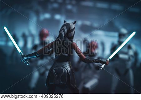 FEB 20 2021: Scene from Star Wars The Clone Wars with Ahsoka Tano fighting clones during Order 66  - Hasbro action figure