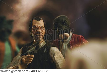 FEB 20 2021: Scene from Mos Eisley with Dr. Evazan and Ponda Baba pestering Luke Skywalker -  Hasbro action figure