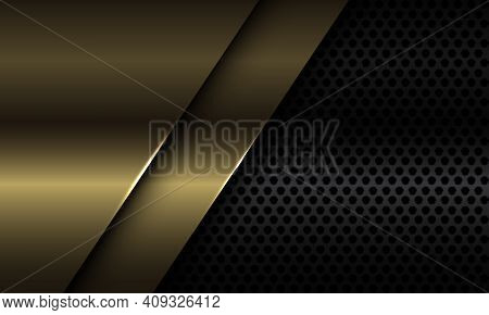 Abstract Gold Plate Overlap On Black Circle Mesh Design Modern Luxury Futuristic Background Vector I
