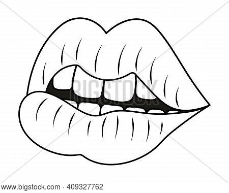 Plump Lips. Side View. Sketch. The Seductive Mouth Is Slightly Open. Vector Illustration. Coloring B