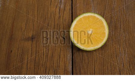 Slice Of Orange Fruit, Also Known As Lime Orange, Very Well Known In Brazil, Very Sweet Fruit On Woo