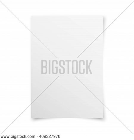 White Realistic Blank Paper Page With Shadow Isolated On White Background. A4 Size Sheet Paper. Mock