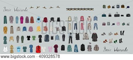 Clothes, Footwear, Shoes And Bags. Coats, Dresses, Skirts, Blouses, Trousers, Jeans, Backpack, Brief