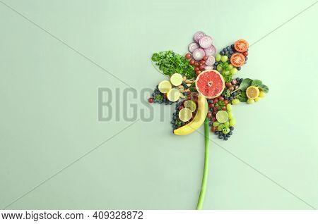 Spring Flower Concept, Organic Fruits And Vegetables, Summer Salad Ingredients